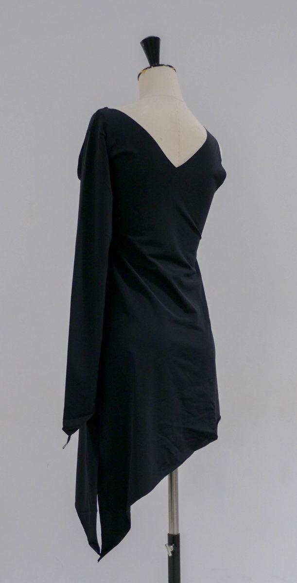 Robe noire lycra asymétrique-001-dos