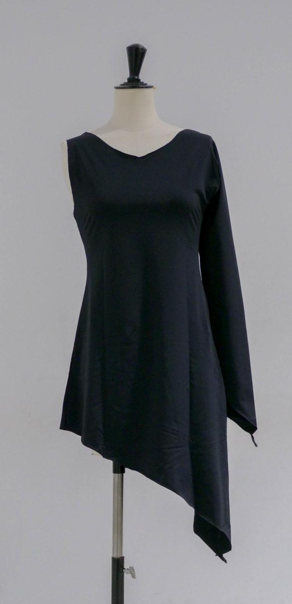 Robe noire lycra asymétrique-001-face