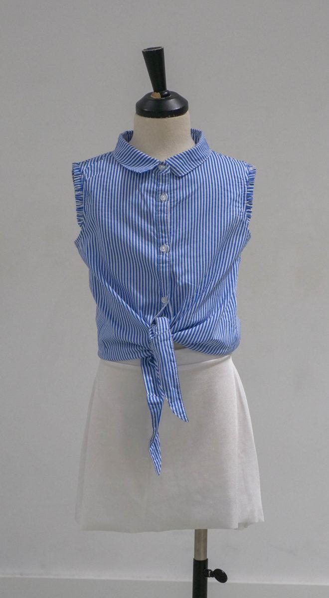 Chemise bleue rayée face