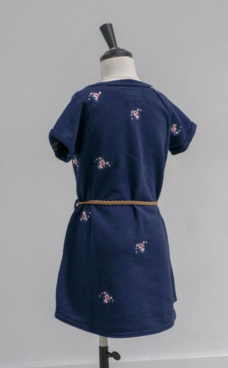 Robe bleue fleurie dos