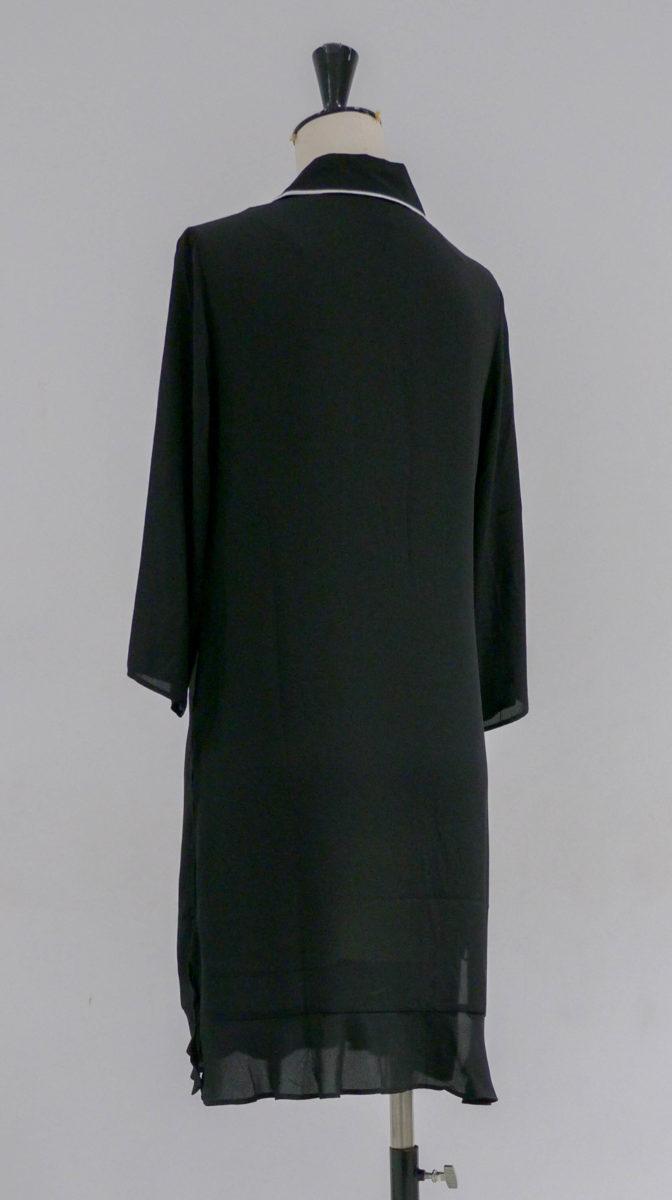 Robe noire col claudine dos