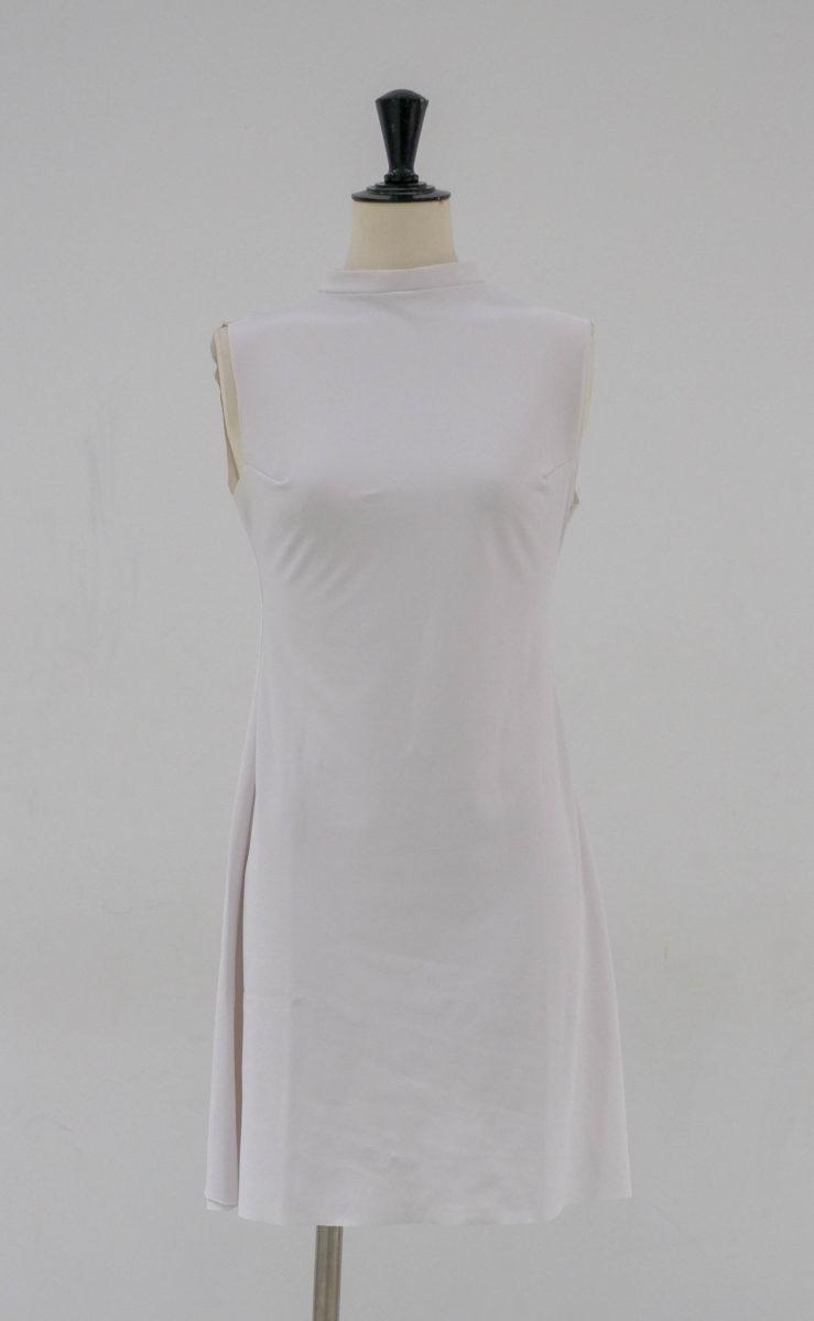 Robe col mao courte blanche (x1) 4